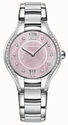 Raymond Weil Quadrante rosa con cinturino in acciaio inossidabile con diamante da donna 5132-STS-00986
