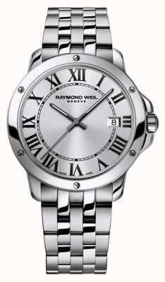 Raymond Weil Quadrante argentato per bracciale in acciaio inossidabile tango da uomo 5591-ST-00659