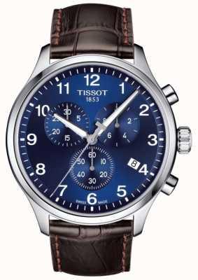 Tissot Mens t-sport xl cronografo quadrante blu cinturino in pelle marrone T1166171604700