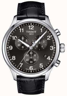 Tissot Mens t-sport xl cronografo quadrante nero cinturino in pelle nera T1166171605700