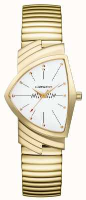 Hamilton Ventura flex quarzo quadrante bianco in acciaio inossidabile placcato oro H24301111