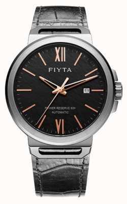 FIYTA Quadrante nero automatico solo in pelle zaffiro nero GA852000.BBB