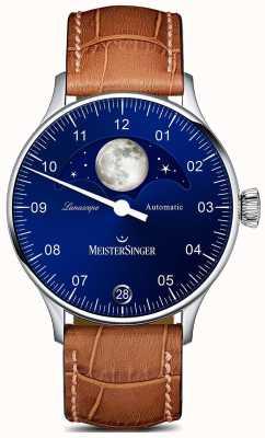 MeisterSinger Quadrante blu cinturino marrone lunascope Pangea LS908