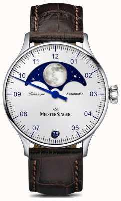 MeisterSinger Pangea lunascope quadrante argento cinturino in pelle marrone LS901