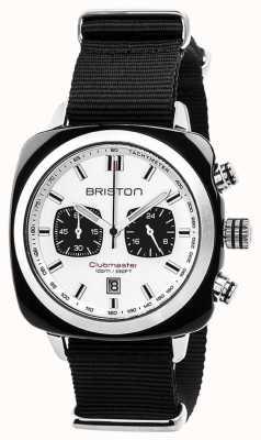 Briston Quadrante bianco con cinturino nero senza tempo sportivo Clubmaster 17142.SA.BS.2.NB