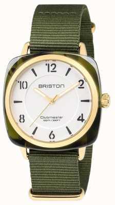 Briston Quadrante bianco elegante cinturino verde Clubmaster 18536.PYA.TG.2.NGA