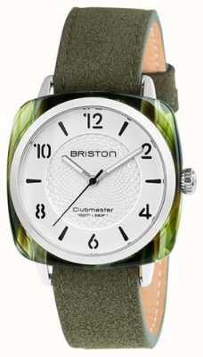 Briston Cinturino verde Clubmaster chic con quadrante bianco 18536.SA.GE.2G.LNGA