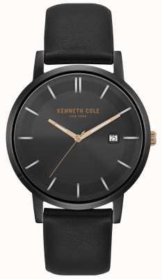 Kenneth Cole Cassa degli uomini e quadrante con data quadrante cinturino in pelle nera KC15202004