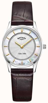 Rotary Quadrante madreperla da donna in pelle marrone ultra sottile LS08300/02