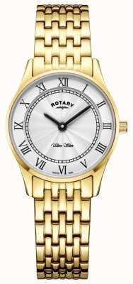 Rotary Quadrante bianco con cinturino in oro tono ultra sottile da donna LB08303/01