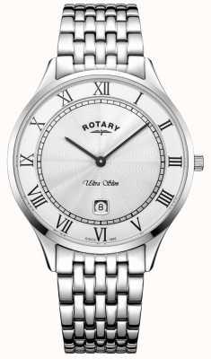 Rotary Orologio da uomo in acciaio inossidabile ultra slim con quadrante bianco GB08300/01