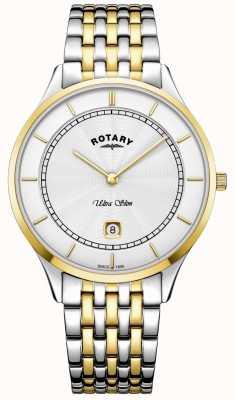 Rotary Orologio da uomo in acciaio inossidabile con cassa quadrante bianca ultra sottile GB08301/02