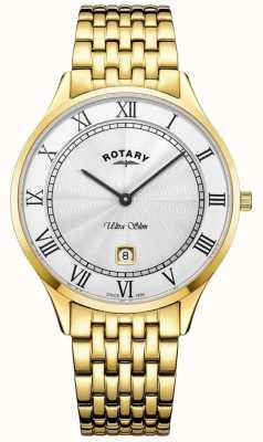 Rotary Orologio da uomo in acciaio inossidabile con quadrante bianco ultra sottile GB08303/01