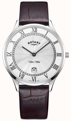 Rotary Orologio da uomo in pelle marrone ultra slim GS08300/01