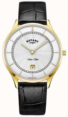 Rotary Orologio da uomo in pelle nera ultra slim GS08303/02