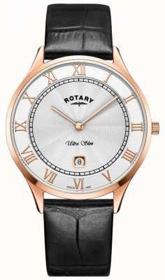 Rotary Orologio da uomo in pelle nera ultra slim GS08304/01