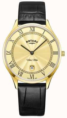 Rotary Orologio da uomo in pelle nera ultra slim GS08303/03