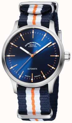 Muhle Glashutte Cinturino blu arancio sintetico Panova bleu limited edition M1-40-72-NB