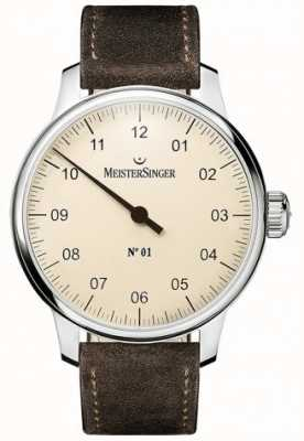 MeisterSinger N ° 1 cinturino in pelle scamosciata sellita 40mm e ferita DM303