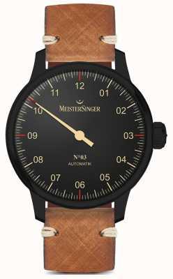 MeisterSinger Cinturino in pelle marrone chiaro con linea nera a lancetta singola AM902BL
