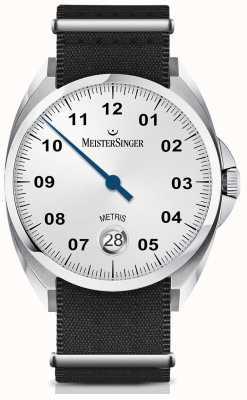 MeisterSinger Metris automatico quadrante argento opalino cinturino in nylon nero ME901