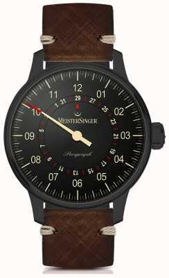 MeisterSinger Perigraph automatico linea nera cinturino in pelle marrone scuro AM1002BL