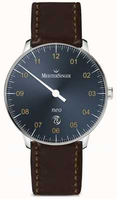 MeisterSinger Cinturino Neo Plus automatico blu acciaio cordovan scuro NE417G