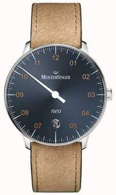 MeisterSinger Cinturino cognac neo automatico in acciaio blu con quadrante in camoscio NE917G