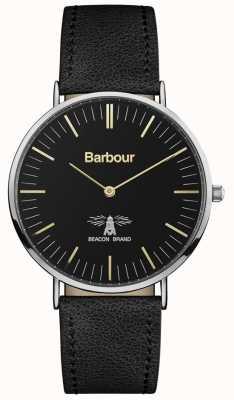 Barbour Quadrante nero con cinturino in pelle nera hartley da uomo BB055BKBK