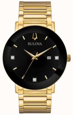 Bulova Orologio da uomo con quadrante nero con cinturino in oro con orologio moderno 97D116
