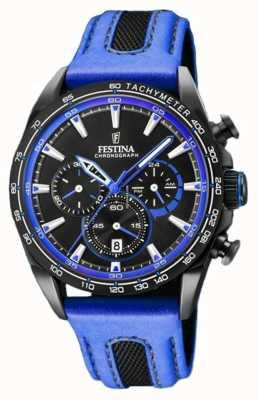 Festina Quadrante nero con cinturino in pelle blu cronografo sportivo da uomo F20351/2