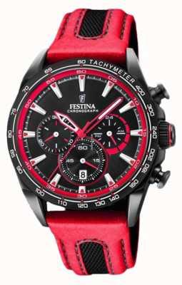 Festina Quadrante nero con cinturino in pelle rossa cronografo sportivo da uomo F20351/6