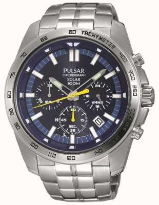 Pulsar Bracciale da uomo in acciaio inossidabile con cronografo blu a carica solare PZ5001X1