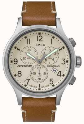 Timex Cronografo spedizione uomo cinturino in pelle color crema TW4B09200