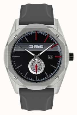 DeLorean Motor Company Watches Il quadrante nero con cinturino in silicone grigio a rapida evoluzione DMC-5