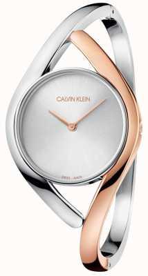 Calvin Klein Orologio da donna in acciaio inossidabile oro rosa a due tonalità K8U2SB16