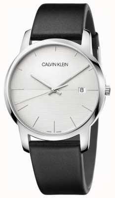 Calvin Klein Quadrante argentato con cinturino in pelle nera K2G2G1CD