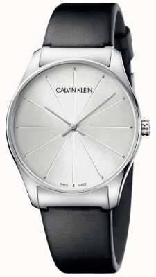 Calvin Klein Orologio da donna con quadrante argentato in pelle nera K4D211C6