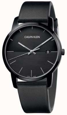 Calvin Klein Orologio da uomo con quadrante nero in pelle nera K2G2G4C1
