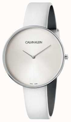 Calvin Klein Orologio da donna con quadrante bianco in pelle bianca K8Y231L6
