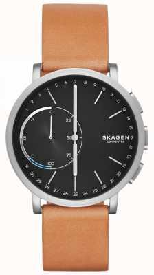 Skagen Quadrante nero con cinturino in pelle marrone orologio intelligente collegato a Hagen SKT1104