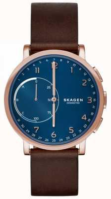 Skagen Quadrante blu con cinturino in pelle marrone da orologio intelligente collegato a Hagen SKT1103