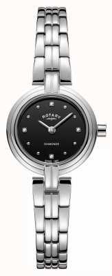 Rotary Bracciale da donna con quadrante nero in acciaio con diamanti LB00410/15