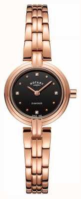 Rotary Diamante da donna con quadrante nero in pvd placcato oro rosa LB00414/15