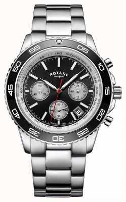Rotary Cronografo tachimetro uomo in acciaio inossidabile con datario GB00410/04