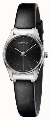 Calvin Klein Cassa classica in acciaio inossidabile con cinturino nero in pelle nera K4D231CY