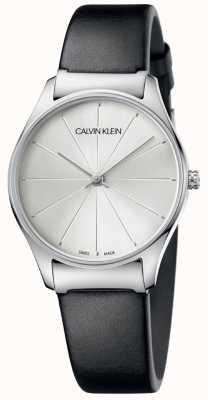 Calvin Klein Quadrante argentato con cinturino in pelle nera classica K4D221C6