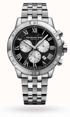 Raymond Weil Quadrante nero tondo cronografo da uomo in acciaio inossidabile tango 8560-ST-00206