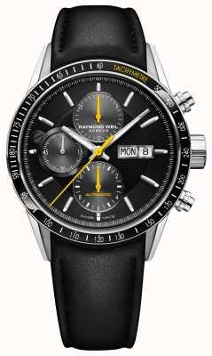 Raymond Weil Cinturino automatico da uomo cronografo automatico in pelle nera 7731-SC1-20121