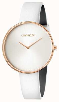 Calvin Klein Orologio da polso da donna in pelle pieno di luna bianca K8Y236L6